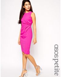 Asos Pencil Dress In Crepe With Drape Detail - Lyst