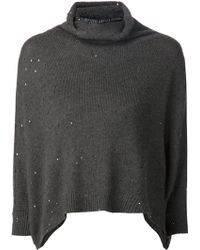 Brunello Cucinelli Cropped Knitted Sweater - Lyst