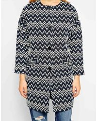 Helene Berman Button Front Collarless Coat in Aztec - Lyst