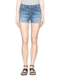 J Brand 'Gracie' High Rise Roll Cuff Shorts blue - Lyst