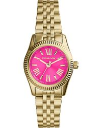 Michael Kors Mk3270 Mini Lexington Gold-Plated Pink Watch - For Women - Lyst