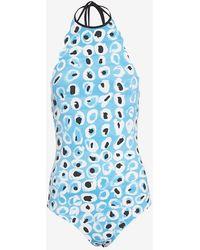 Marysia Swim Scalloped Trim Halter One Piece Printed Swimsuit blue - Lyst