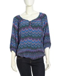 Tolani Pullover Zigzagprint Satin Tunic Purple - Lyst