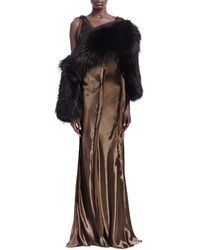 Lanvin Rawedge Seamed Sleeveless Gown and Fox Fur Convertible Scarf - Lyst