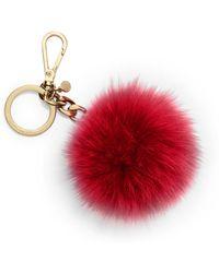 Michael Kors Fur Pom-Pom Keychain - Lyst