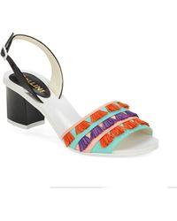 Pollini Vachetta Leather Slingback Sandals - Lyst
