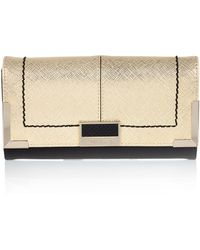River Island Gold Textured Foldover Purse - Lyst