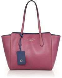 Gucci Swing Small Leather Tote red - Lyst