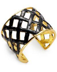 Kenneth Jay Lane White Lattice Cuff Bracelet - Lyst