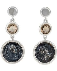 1884 Collection - Legacy Vivace Silver Coin & Smoky Quartz Triple-drop Earrings - Lyst
