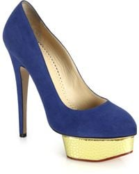 Charlotte Olympia Dolly Metallic-Platform Suede Pumps blue - Lyst
