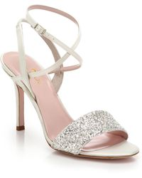 Kate Spade Glittered Leather Sandals - Lyst