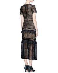 Self-Portrait | Lace-up Peplum Midi Dress | Lyst