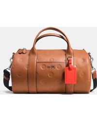 COACH | Small Barrel Bag In Saddle Dot Embossed Leather | Lyst