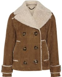 Burberry Prorsum Suede and Shearling Coat - Lyst