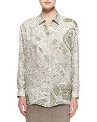 Burberry Prorsum London Mapprint Collared Buttonup Blouse - Lyst
