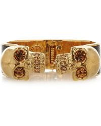 Alexander McQueen - Goldtone Swarovski Crystal and Leather Cuff - Lyst