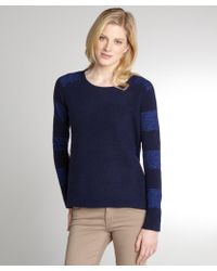 Halston Heritage Navy Wool Blend Lurex Striped Sleeve Sweater - Lyst