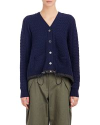 Sacai Luck - Drawstring-hem Cable-knit Cardigan - Lyst