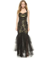 Notte by Marchesa Mermaid Gown With Metallic Lace - Black black - Lyst