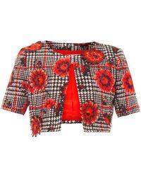 Oscar de la Renta Flower Embroidered Houndstooth Jacket - Lyst