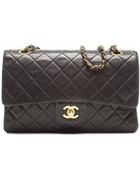 Chanel Preowned Black Lambskin Medium Double Flap Bag - Lyst