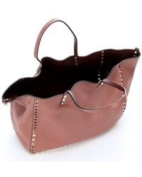 Valentino Cocoa and Chestnut Leather Reversible Rockstud Convertible Trapeze Tote - Lyst