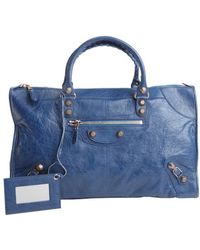 Balenciaga Cobalt Blue Distressed Leather Giant Work Large Top Handle Bag - Lyst