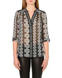 Diane von Furstenberg Harlow Printed Silk Shirt - Lyst