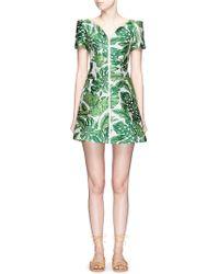Chictopia - Jungle Leaf Jacquard Off-shoulder Dress - Lyst