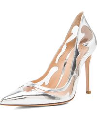 Gianvito Rossi Western Plexy Metallic Leather Pumps - Lyst