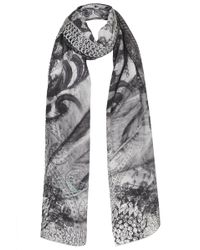 Topshop Womens Cold Shoulder Silk Scarf by Cjg - Grey - Lyst