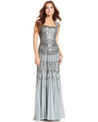 Adrianna Papell Cap-sleeve Embellished Gown - Lyst
