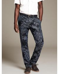 Banana Republic Aiden Slimfit Printed Blue Chino - Lyst