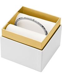 Michael Kors Silver Tone Logo Plaque Bangle Bracelet - Lyst