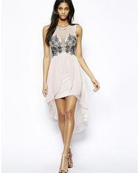 Lipsy Mesh Applique High Low Dress - Lyst