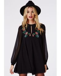 Missguided Pamela Embroidered Swing Dress Black - Lyst