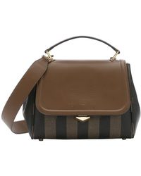 Fendi Tobacco And Forest Pequin-Striped Coated Canvas Convertible Top Handle Bag - Lyst