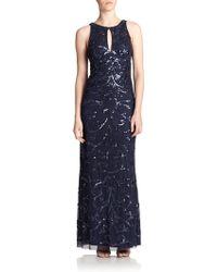 Aidan Mattox Embellished Keyhole Gown - Lyst