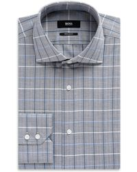Hugo Boss Gerald   Regular Fit, Spread Collar Cotton Plaid Dress Shirt - Lyst