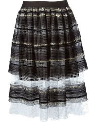 Natargeorgiou - Striped A-line Net Skirt - Lyst