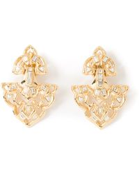 Yves Saint Laurent Vintage Crystal Arabesque Earrings - Lyst