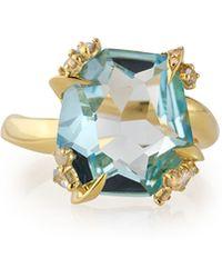 Alexis Bittar Fine - Sandy Beach 18K Gold Blue Topaz Ring With Diamonds - Lyst