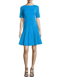 Zac Posen Structured Fit  Flare Dress - Lyst