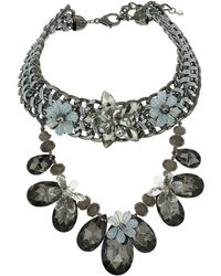 Topshop Premium Faceted Flower Collar - Lyst