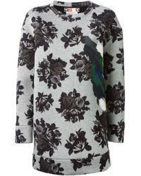 MSGM Floral Print Sweatshirt Dress - Lyst