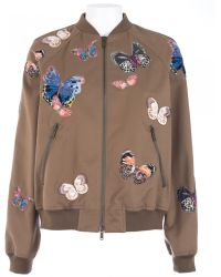 Valentino Cotton Army Bomber With Embroidered - Lyst