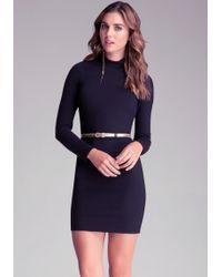 Bebe Mock Neck Bodycon Dress - Lyst