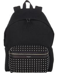 Saint Laurent Studded-Pocket Classic Backpack - Lyst