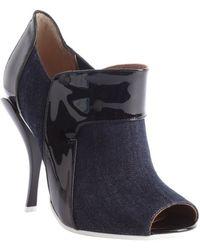 Fendi Blue Denim And Black Patent Leather Peep Toe Booties - Lyst